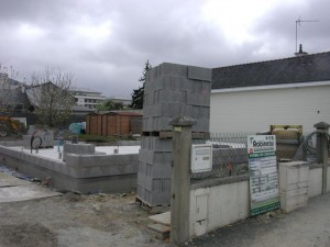 Chantier de construction en parpaings